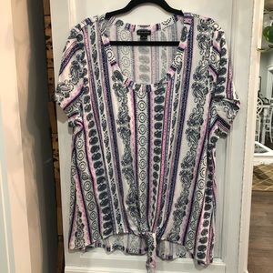 New Directions pink, white, blue blouse XL